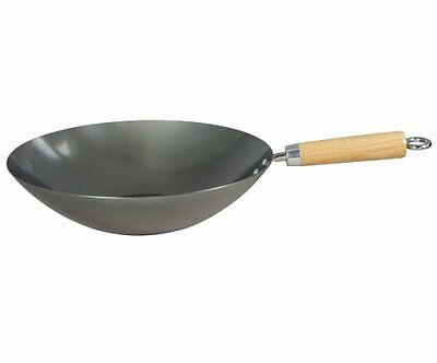 "Swift Spice 30 Cm/12"" Heavy Gauge Carbon Steel Wok Stainless Steel New UK SELLER"