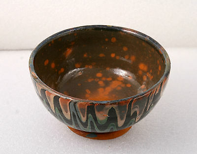 ANTIQUE 19`c Ottoman Empire HandMade REDWARE Glased Pottery Ceramic Dish Bowl 42