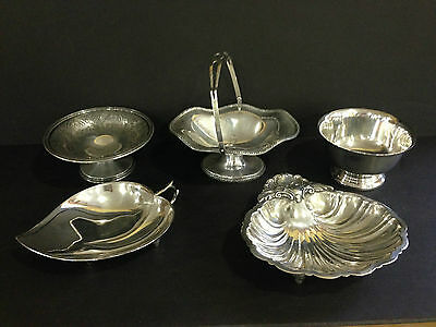 5 Small Silver Plated Items Brides Basket Shell Bowl etc..