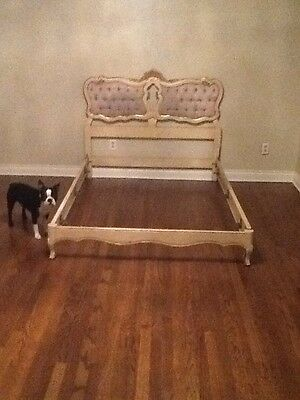 Beautiful French Antique Louis muted faded blue Upholstered Full Size Bed