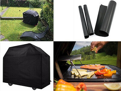 Waterpoof BBQ Barbecue Grill Cover Protector+5pc Non-Stick Sheet Mat+Thermometer