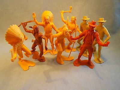 Vintage Marx Figures Cowboys and Indians 8 items 1960s