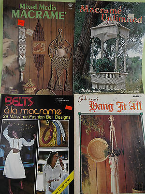 Macrame Books Lot of 4 Hangers Belts Mixed Media 1970's