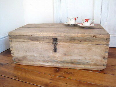 Antique Early Victorian Wooden Pine Toolbox Coffee Table Storage Unit Vintage