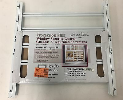 Protection Plus  5 Bar Window Guard in White- New - Free Shipping