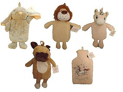 Primark hot water bottle with cover pug, owl, lion, unicorn BNWT free UK postage