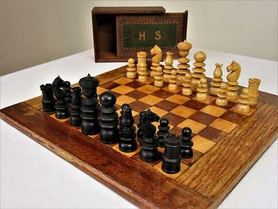 Vintage Chess Set Jaques ?  St.george Pattern + Old  Inlay Chess  Board