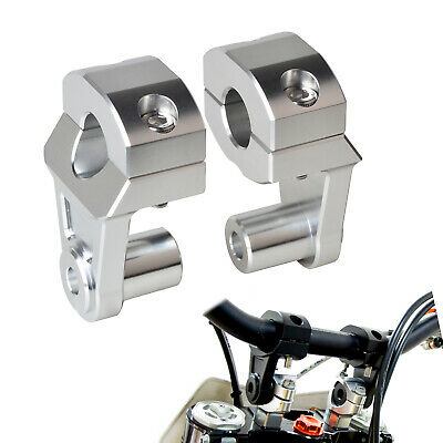 Silver 22mm HandleBar Handle Fat Bar Mount Clamps Riser Motocross For Dirt Bike
