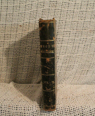 WOOD'S HOUSEHOLD MAGAZINE Black Leather binding antique old 1874 illustrated