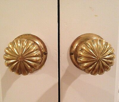 Large Solid Brass Door Knobs W/Backplates, Rosettes  Antique/Vintage/Fancy  EUC