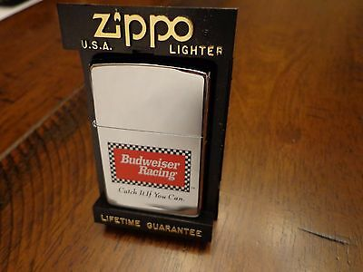 Budweiser Racing Catch It If You Can  Zippo Lighter Mint In Box 1994