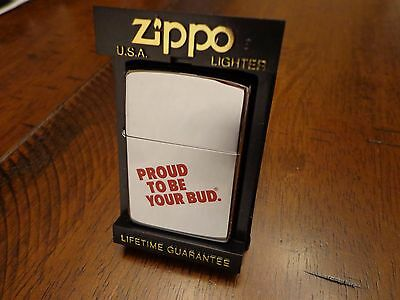 Budweiser Beer Proud To Be Your Bud  Zippo Lighter Mint In Box 1994