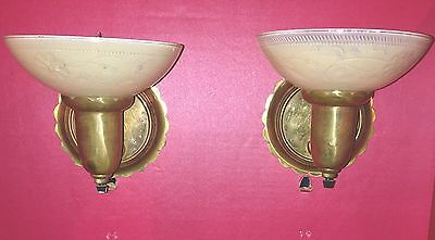 Beautiful Sconces Vintage Antique Wired Pair Slip Shades Brass