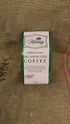 Allaway's Decaf Espresso Ground Coffee - mountain water processed 1, 3 or 6kg