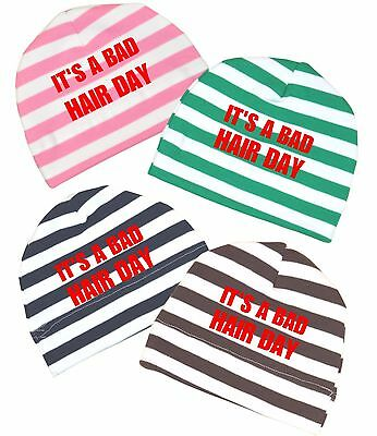BabyPrem Baby Boys Girls Cotton Beanie Hat BAD HAIR DAY Shower Gifts Presents