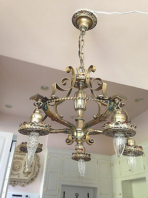 Antique Vintage French Empire Fb Bronze Brass Chandelier Original Colors Stamped