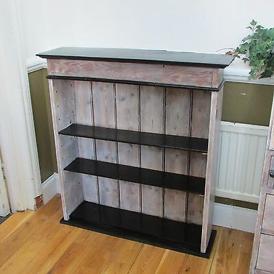 Antique Oak Bookcase, Refurbished and Lime Waxed with Black Top and Shelves