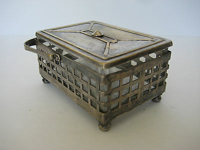 Vtg Silver Basket with Glass Insert