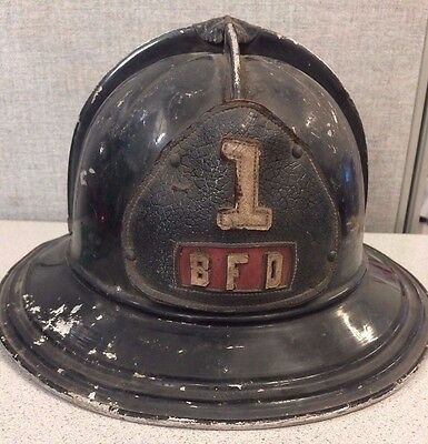 Black Vintage Metal Cairns & Brothers Fire Fighter Helmet, Shield BFD #1