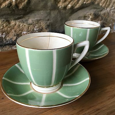 Vintage Minton 'Mint Green' Solano Ware Cup And Saucers
