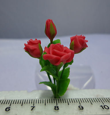 1:12 Scale Roses Dolls house Miniatures Flowers, Garden   (Red)