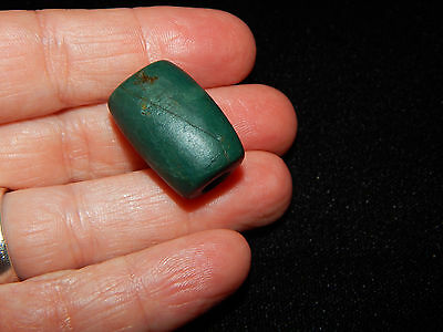 Pre-Columbian Blue Jade Tubular Bead, Authentic, Costa Rica