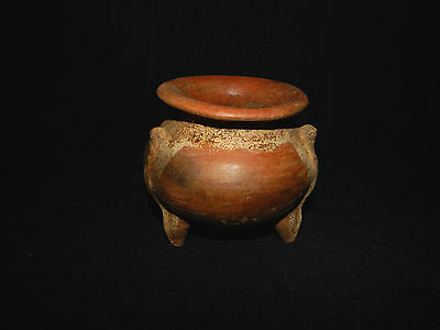 Globular Pot, Pre-Columbian Pottery,  Red and White Slip, Excellent Condition