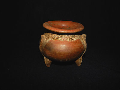 Pre-Columbian Globular Pot, Nicoya, Red and White Slip, Excellent Condition