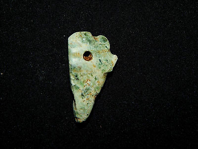 Pre-Columbian Avian Pendant Bead, Green Jade, Nicoya, Authentic