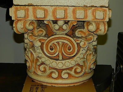 Antique Clay Fired Architectural Capitols, Heavy Glaze, Historical Building