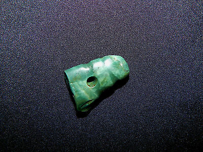 Pre-Columbian Avian Pendant Bead, Blue Green Jade, Nicoya, Authentic