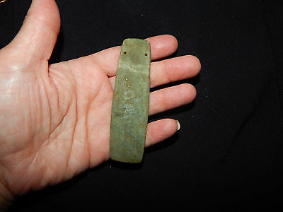 Pre-Columbian Ceremonial Jade Pendant, Authentic , Calcified Green Jade
