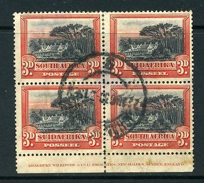 South Africa 1927 KGV 3d black & red BLOCK p14 SG 35 used *READ DESCRIPTION*