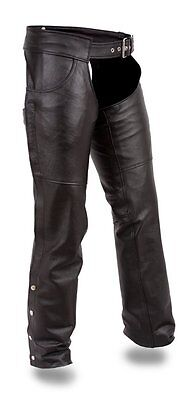 First Manufacturing FMM835CC The Rally Leather Motorcycle Chaps Unisex Black XL