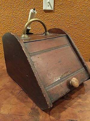 Antique 1800's English Handmade Brass Handled Wood Coal Bin Ash Box Hod Scuttle