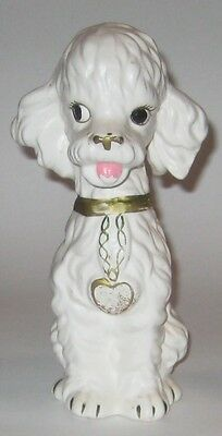 SITTING White POODLE w/Gold HEART Vintage JAPAN Pottery FIGURINE