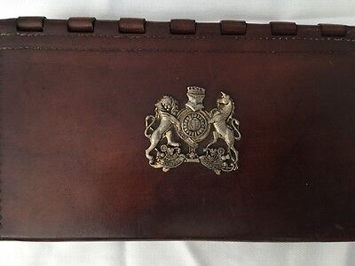 Antique English box silver coat of arms family crest emblem Rawhide very rare