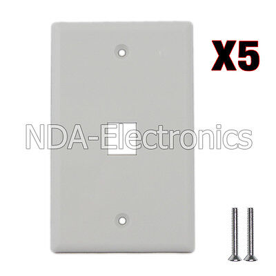 5 pack of Plastic Face Plate Cover 1 Port Wall Plate 1 Gang 2 Free Screws White