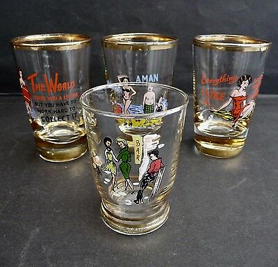 3 VINTAGE 1960s COCKTAIL GLASSES and 1 SHOT GLASS - GREAT CONDITION