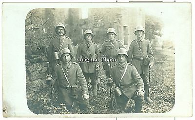 German Soldiers with Gew 91 carbines and Sabres, WW1, Original Photo Card
