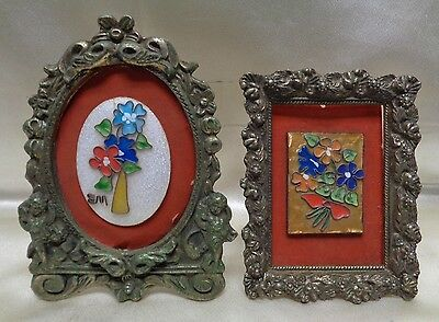 Pair of Antique Glass Floral Art on Red Backgrounds w. Antique Metal Frames