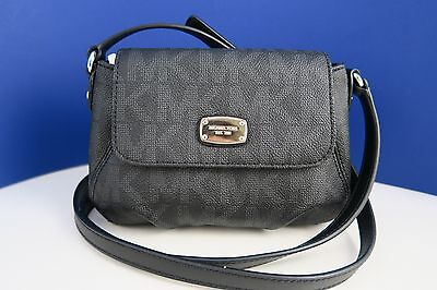 NWT MICHAEL KORS Jet Set Item PVC Black Small Flap Crossbody Bag Purse