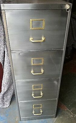 Industrial Vintage Filing Cabinet Stripped Polished Steel Retro Storage