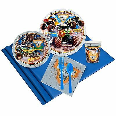 MONSTER JAM 3D - Birthday Party Supply Kit for 8 w/ Table Ware