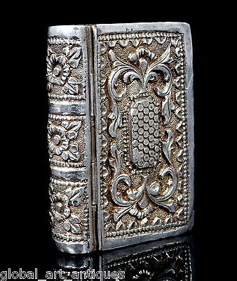 Vintage Rare Collectible Silver Hand Carved Book Shape Trinket/Snuff Box.G10-64