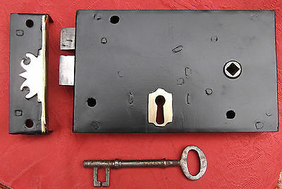 Refurbished Lock With  Key And   Brass Edged Keep