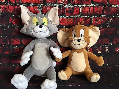 """Hanna Barbera Tom and Jerry Plush Set 12"""" & 10"""" Cat & Mouse Stuffed Animal Clean"""