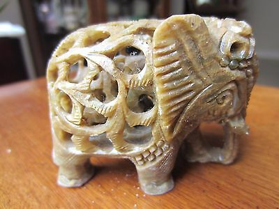 "Collectible Soapstone Carved Elephant w/baby carved inside, jade green 3"" tall"