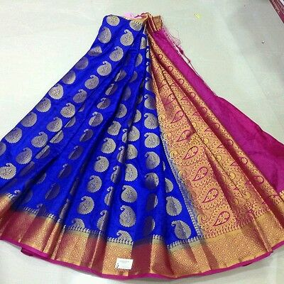 last piece left*india partyRoyal Blue Kanji katan pure soft silk saree blouse pc