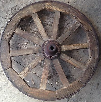 Square Wood Spoke Iron Rim Wheel 17 Inches Wagon Cart With Hub 1873 1876 Rare